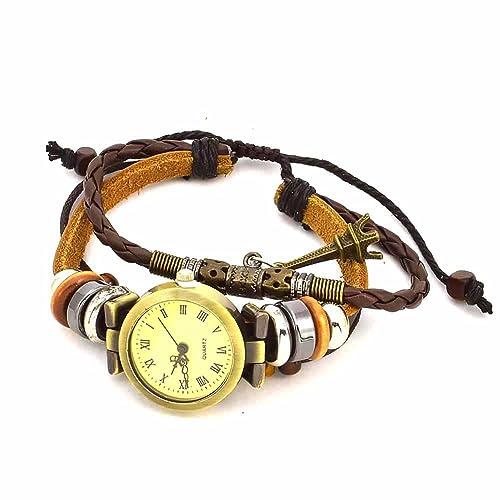 Mes Bijoux Bracelets Reloj de Pulsera Redondo Cuero Joya Reloj Mujer Números Romanos Torre Eiffel Moli
