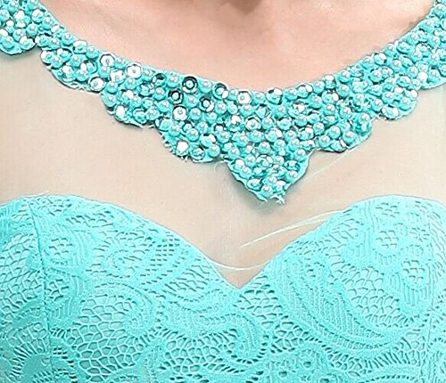 Through Ausschnitt Pink Emily O Spitze Abendkleid See Beauty Nixe Kurzarm 6atqwxY
