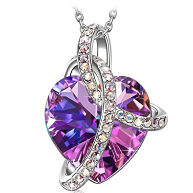 9fe6dc182 Image Unavailable. Image not available for. Color: SIVERY Heart Jewelry  Women Pendant Necklace with Purple Swarovski Crystals ...