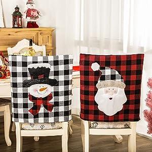 Nuxn Snowman Christmas Chair Covers Buffalo Plaid Christmas Chair Back Covers Washable Dining Room Chair Protector Slipcovers Xmas Holiday Party Decor