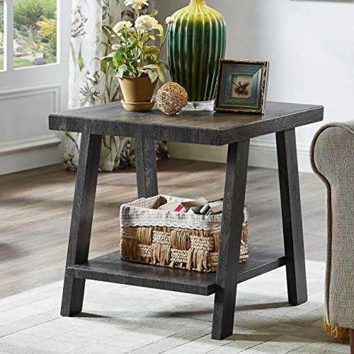 Roundhill Furniture OE3371 Athens Contemporary Replicated Wood Shelf End Table in Charcoal Finish