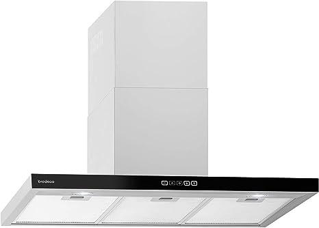 bredeco Campana Extractora De Cocina BCCH-200A-90B (LED 2x 2 W, 90cm, Circulación de aire 636,5 m³/h, Color negro, Pantalla táctil): Amazon.es: Grandes electrodomésticos
