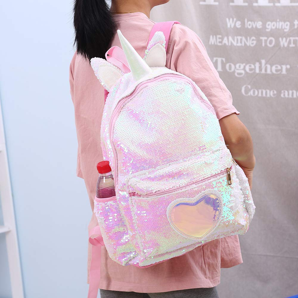 3048576c82c1 Pizoff Reversible Sequin Backpack for Girl Boys Sparkly Lightweight Unicorn  School Backpack AM004-25