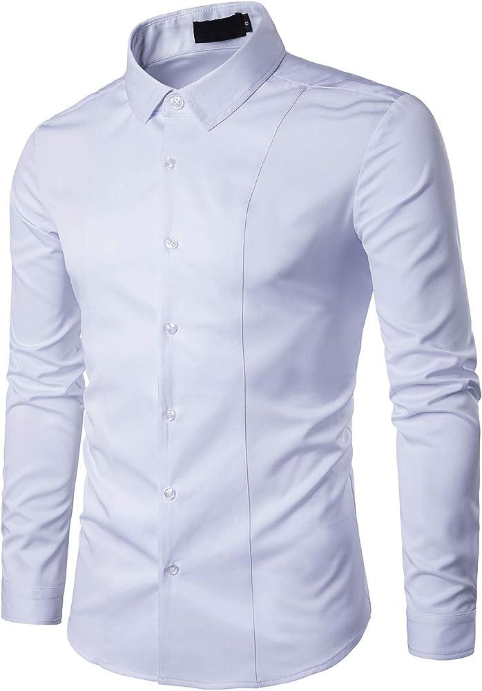 Camisa de Manga Larga para Hombre Elástica Camisas Clásicas de Negocios de Ocio Slim Fit (Blanco, S): Amazon.es: Ropa y accesorios