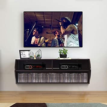 Amazon Com Tangkula Wall Mounted Console 2 Tier Modern Wall Mount