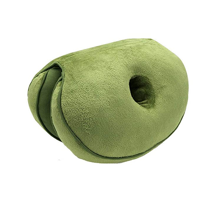 Dual Comfort Cushion Lift Hips Up Seat Cushion Multifunction, for Pressure Relief, Fits in Car Seat, Home, Office (Green)