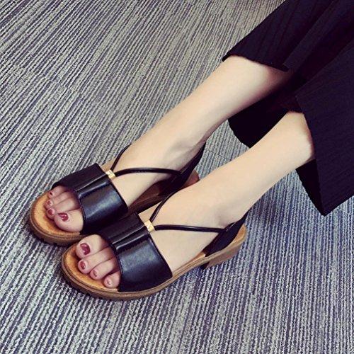Omiky® Mode Frauen Damen Schuhe Bohemia flache Schuhe Sandalen Schuhe Schwarz
