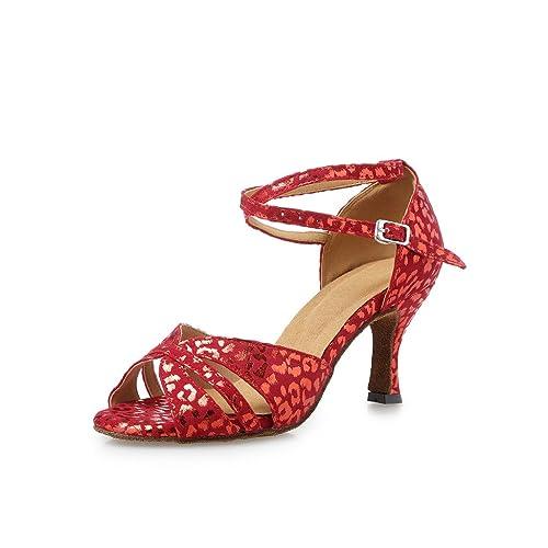 3767e9bb6ba87 Amazon.com | Misu Women's Peep Toe Sandals Latin Salsa Tango ...