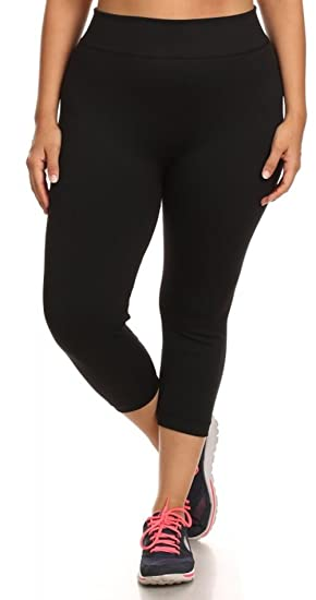 fa2ed231496 Womens Plus Size   Regular Size Long   Capri Black Leggings Tights and Yoga  Seamless Basic Sports at Amazon Women s Clothing store
