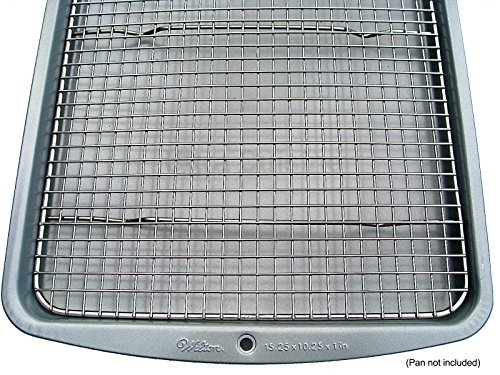 """Ultra Cuisine 100% Stainless Steel Cooling and Baking Rack fits Jelly Roll Sheet Pan - Cool Cookies, Cake, Bread, Pie - Oven Safe Wire Grid for Roasting, Cooking, Grilling, BBQ, Smoking (10"""" x 14.75"""")"""