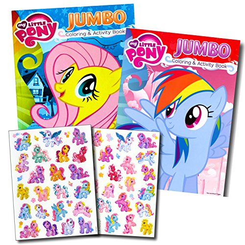 Jumbo Books Sticker (My Little Pony Coloring Book Super Set with Stickers (2 Jumbo Books and Sticker Pack Featuring Rainbow Dash, Fluttershy, Pinkie Pie and More!))