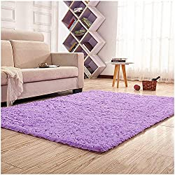 Noahas Super Soft Modern Shag Area Rugs Fluffy Living Room Carpet Comfy Bedroom Home Decorate Floor Kids Playing Mat 4 Feet by 5.3 Feet,Purple