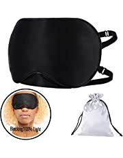 Silk Sleep Mask (Upgrade 19 Momme for Better Light Blocking) Eye Mask for Sleeping,Super Smooth Soft Night Mask with Adjustable Buckle Strap,Travel Pouch for Sleeping Travel - Black
