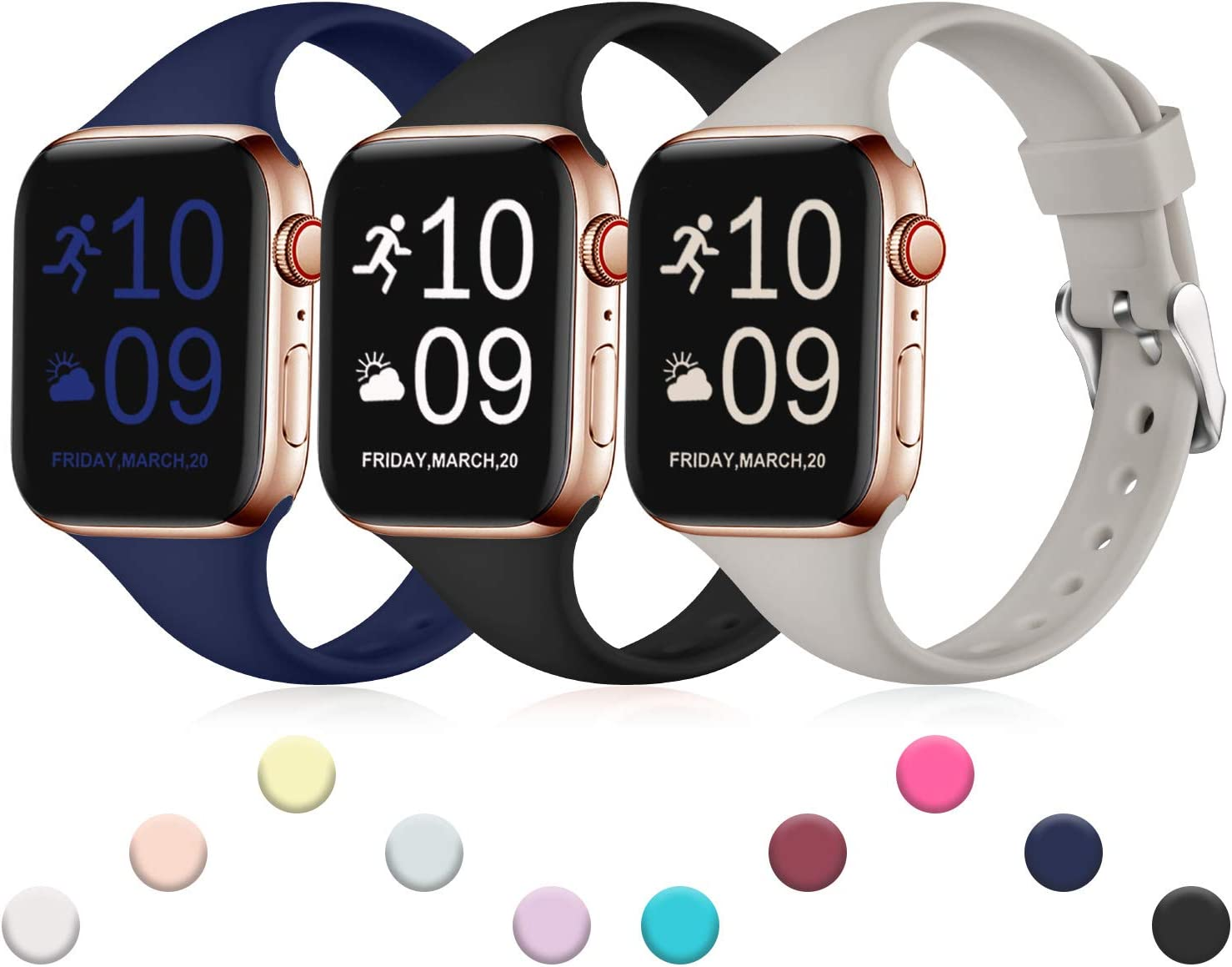 Henva Band Compatible with iWatch 40mm 38mm, Waterproof Soft Slim Band Compatible for Apple Watch SE Series 6/5/4/3/2/1, 3 Pack, Black/Navy Blue/Gray, S/M