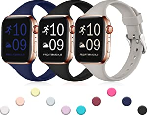 Henva Band Compatible with iWatch 44mm 42mm, Waterproof Soft Slim Band Compatible for Apple Watch SE Series 6/5/4/3/2/1, 3 Pack, Black/Navy Blue/Gray, S/M