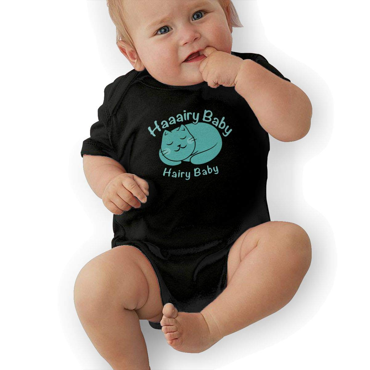 Mri-le2 Newborn Baby Short Sleeve Jersey Bodysuit Hairy Baby Toddler Jumpsuit