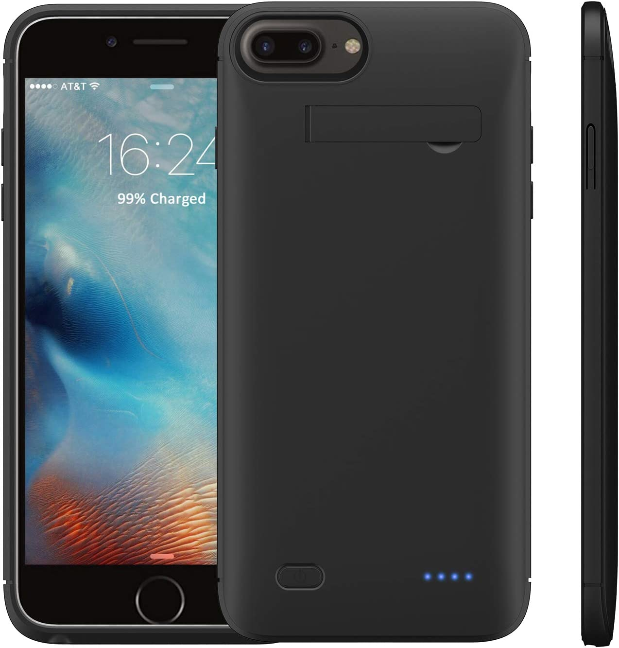 Battery Charging Case 4000mAh Compatible with iPhone 8 plus 7 plus 6s plus 6 plus Ultra Slim Full Body Protection Portable Rechargeable Charger Receiver Cover with Kickstand Removable Top Piece Shell