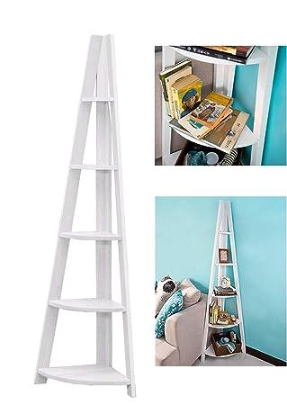 Hongyans 5 Tiers Triangle Corner Shelf Ladder Style Regal