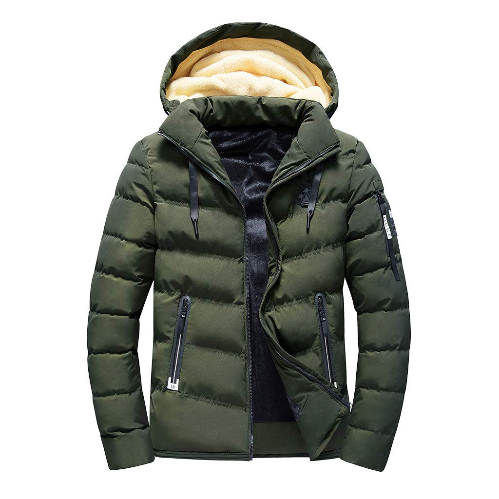 Men's Winter Warm Hooded Coat Plus Size Removeable Cap Zipper Down Jacket Top Pocket Thick Cotton Outwear (Army Green, XXXX-Large) by Aritone - men clothes (Image #1)