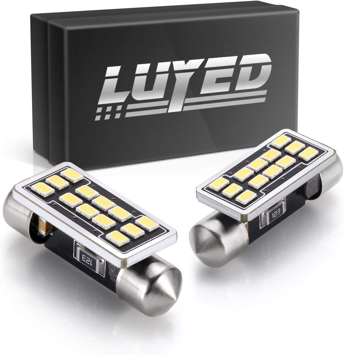 LUYED 2 X 680 Lumens Extremely Bright 3020 12-EX Chipsets 1.4 inches 36mm 6418 DE3423 DE3425 LED Bulbs Used For Dome light,Xenon White