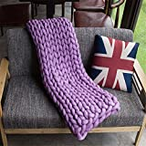 Washable Chunky Blanket, Arm Knitted Throw Blanket, Chunky Blanket, Bulky,Super Knitted Blanket, Chunky Knits, Fireplace Blanket (Blanket: 120x180 cm, Purple)