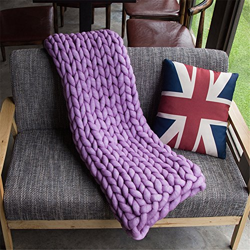 Washable Chunky Blanket, Arm Knitted Throw Blanket, Chunky Blanket, Bulky,Super Knitted Blanket, Chunky Knits, Fireplace Blanket (Baby: 50x100 cm, Purple) by HomeModa Studio