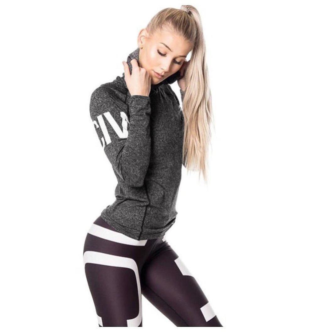 Women Letter Tracksuit Activewear Hoodied Sweatshirt Sport Jacket Blouse Tops (s, Dark Gray)