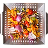 Vegetable Grill Basket and Wok Topper use as a Pan or Smoker. BBQ Accessories, for Stir Fry and Grilling Fish, Seafood, Kabob, Pizza, Veggies & Fruit. Heavy Duty Stainless Steel Grilling Accessories.