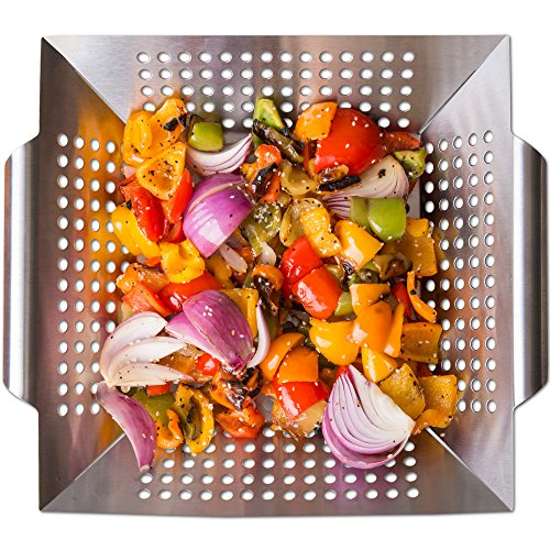 Nonstick Stainless Steel Vegetable Grill Basket & Wok Topper with Carry Handles & Bonus Ebook for No Mess Stir Fry & Grilling Fish, Seafood, Veggies & Fruit by Luxury Grill Products, 13.6 x 12 x (Light Peach Tray)
