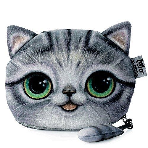 TrendsGal Women's Cartoon Cat Zipper Ladies Workmanship Change Purse(Gray) from TrendsGal