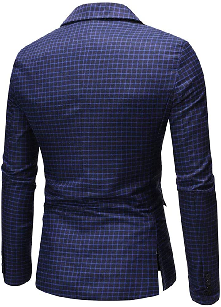 SEAWEED Mens Casual Handsome Fashion Notched Lapel Blazer Plaid Printed Business Slim Fit Coat
