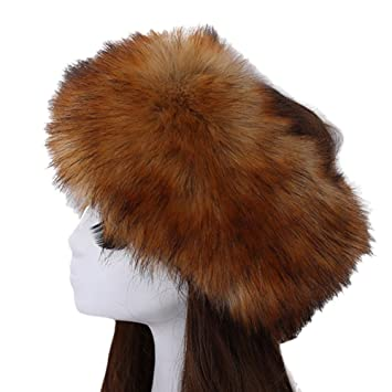 Image Unavailable. Image not available for. Color  Women s Luxurious Faux  Fur Headband Elastic Warm Earmuff Snow Headwrap Hat Fox 403aafe6ce1b