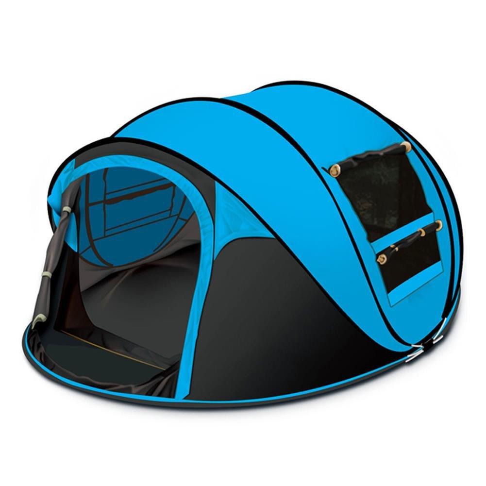 アウトドアワンタッチテント34人用折りたたみ簡易テント二つドア 防風、防雨チュウール高通気性紫外線カットテントJPTENT16Parent B07FWYMSNK ブルー ブルー