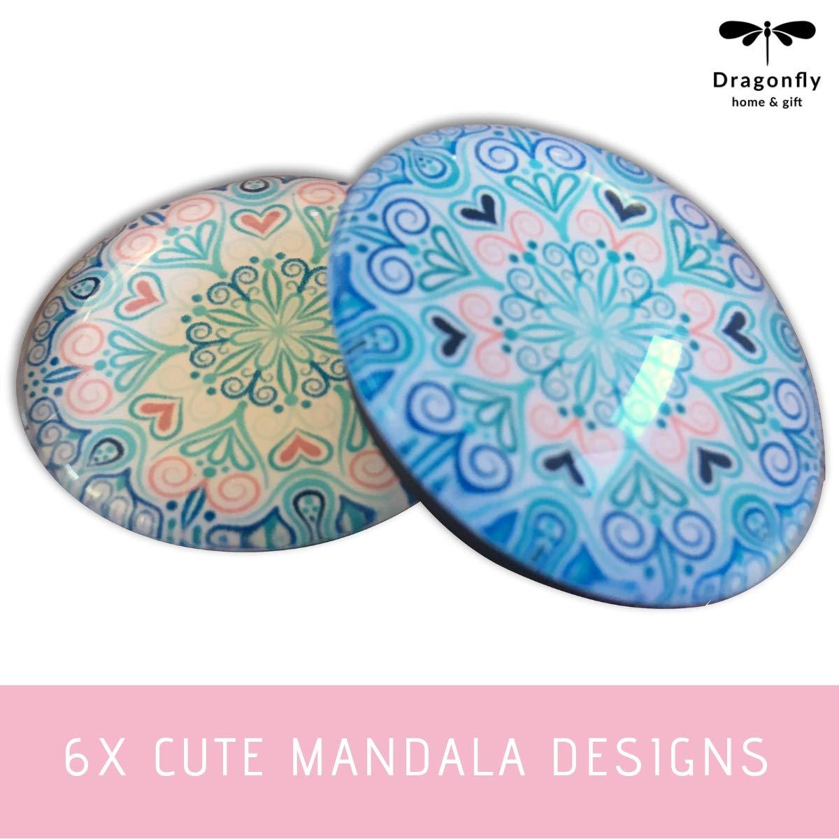 Dragonfly home /& gift Magnets for Stainless Steel Fridge//Refrigerator Glass Magnet Set Mandala Design 6 Pc