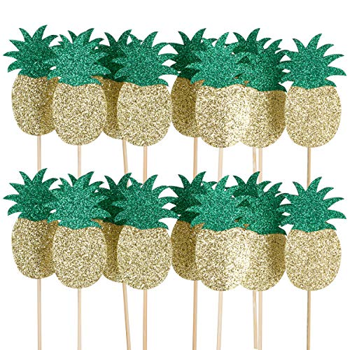 24Pcs Pineapple Cupcake Toppers- Hawaii Luau Tropical Summer Theme Party Decoration -