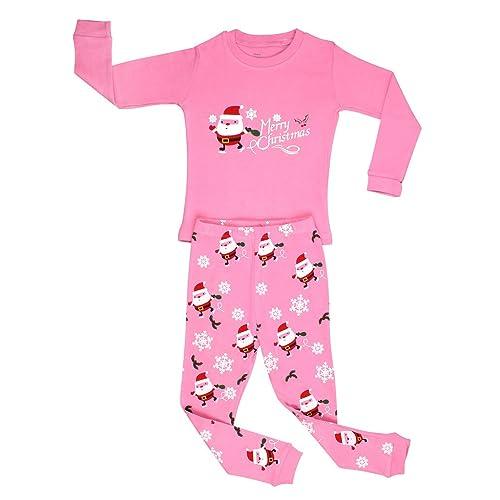elowel girls santa christmas 2 piece kids pajamas set 100 cotton size6m 12y