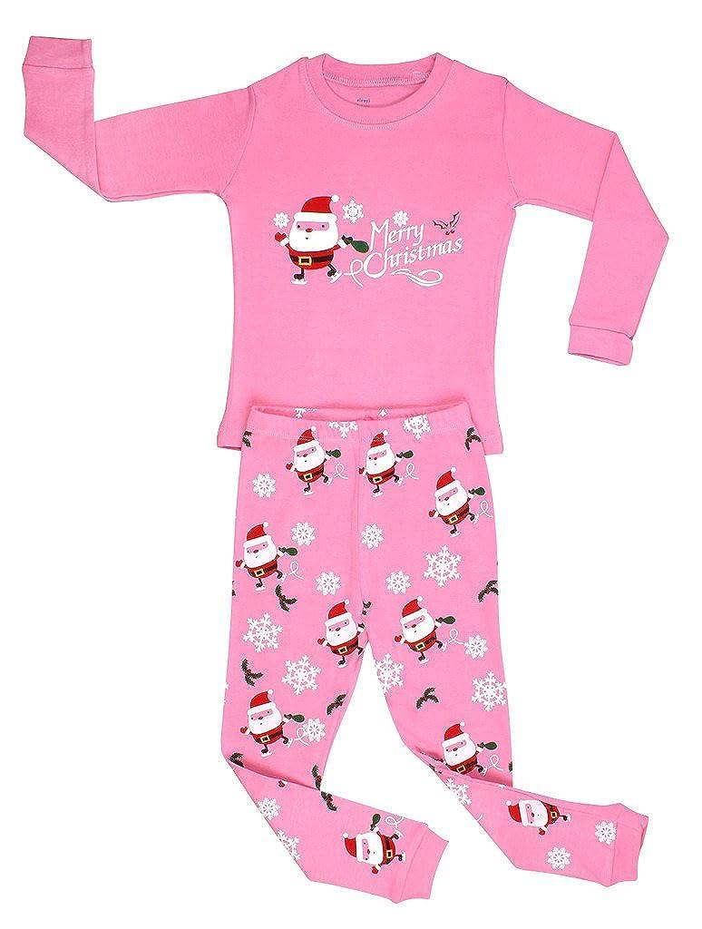 Elowel Girls Santa Christmas 2 Piece Kids Pajamas Set 100% Cotton (Size6M-12Y) gsanta00