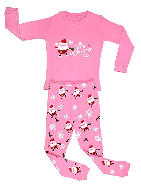 c4ad001f7 Amazon.com  Elowel Girls Santa Christmas 2 Piece Kids Pajamas Set ...