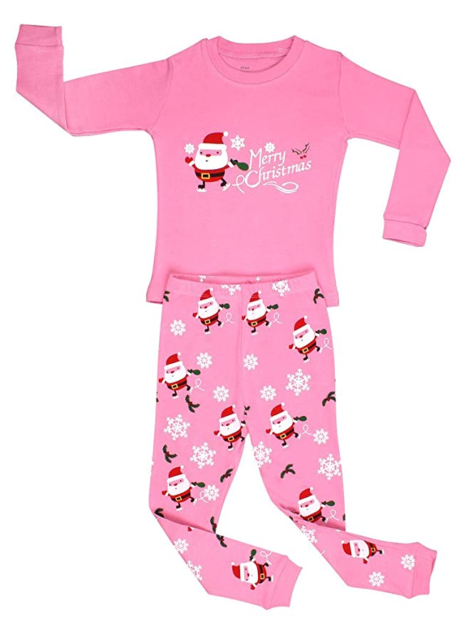 Toddler Girl Santa Christmas Pajamas by Elowel
