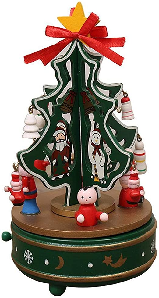 Adolenb Árbol de Navidad Girar Caja de música de Madera Juguete ...