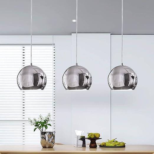 ZMH – Lámpara colgante de mesa o péndulo de aluminio, 3 x LED E27, lámpara de techo plateada para comedor/salón/oficina/café: Amazon.es: Iluminación
