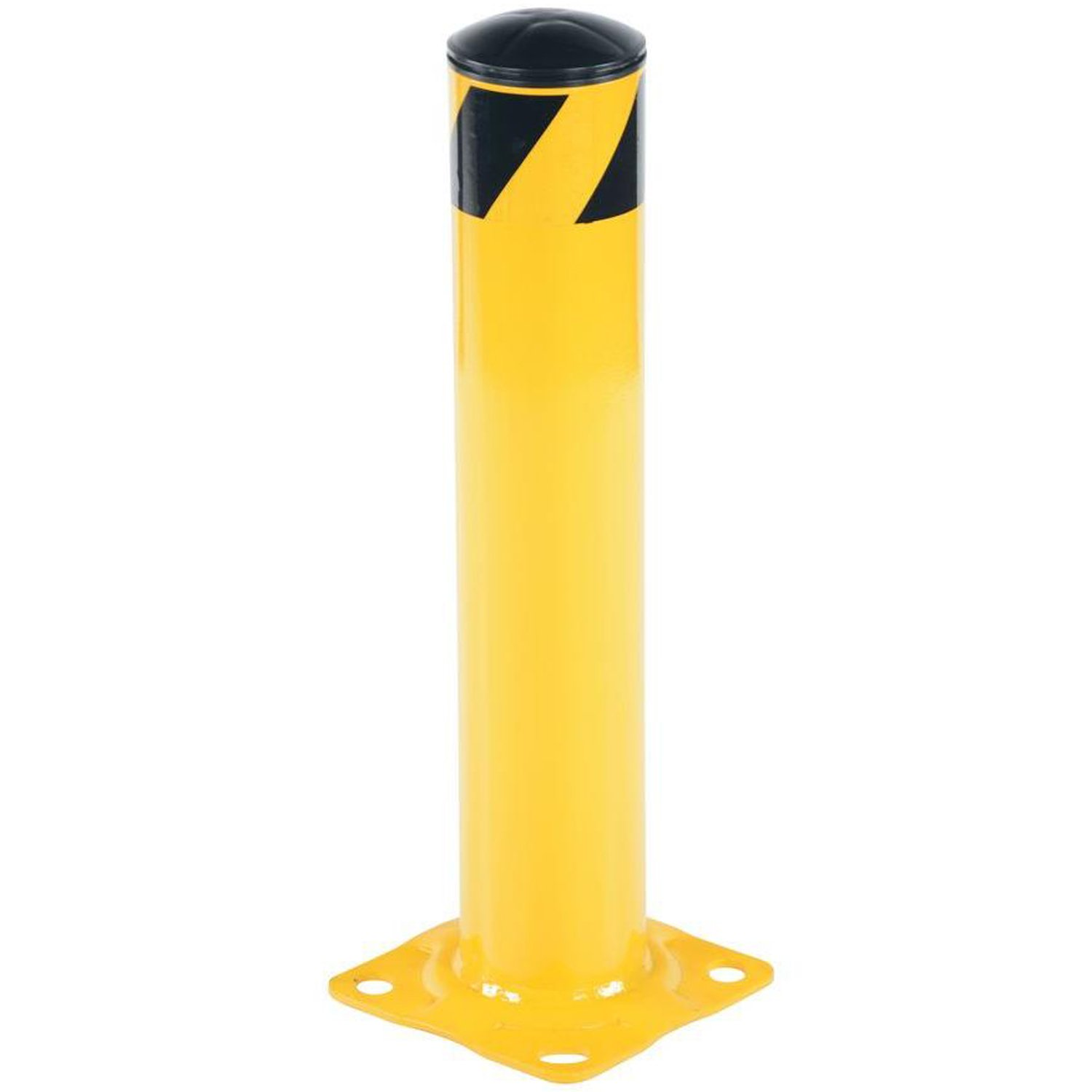 Bollard Post - Steel Safety Barrier Protection- Yellow Powder Coat 4.5'' Diameter 24'' Tall BW4524