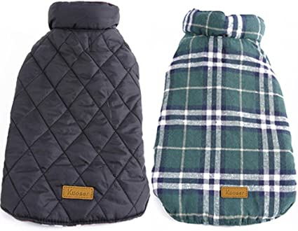 Kuoser Cozy Waterproof Windproof Reversible British Style Plaid Dog Vest Winter
