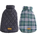 Kuoser Cozy Waterproof Windproof Reversible British style Plaid Dog Vest Winter Coat Warm Dog Apparel for Cold Weather Dog Jacket for Small Medium Large dogs with Furry Collar (XS - 3XL )