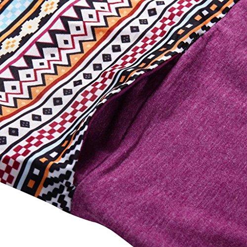 da maglietta petto lunghe Top stampata supera della vestiti donna a Rosso a la camicetta lungo La modo della rappezzatura delle maniche con cucitura tasca donne dei 8xxftB