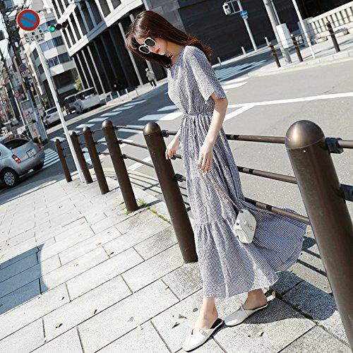 Genou Robe Robe Femme et Robe Slim L grilles Blanc School Student MiGMV Longueur Noir Middle Retro Treillis Jupe qF4xwSW