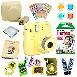 Fujifilm Instax Mini 8 Camera + Accessory kit for Fujifilm Instax Mini 8 Camera Includes Instant camera + Fuji Instax Film 10 PK + Instax Case + instax Album + Sorted lens & Frames + MORE