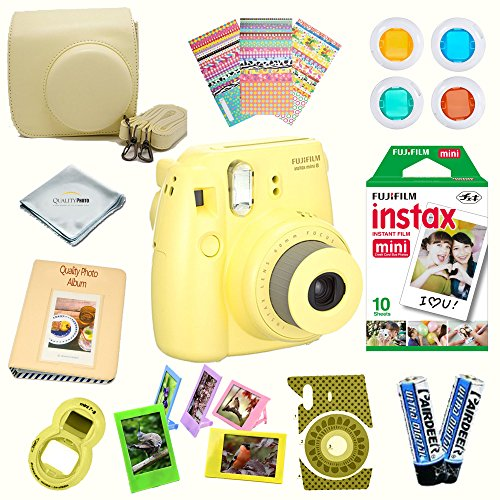 Fujifilm Instax Mini 8 Camera + Fuji INSTAX Instant Film (10 SHEETS) + 14 PC Instax Accessories kit Bundle, Includes; Instax Case + Album + Frames & Stickers + Lens Filters + MORE (Yellow)