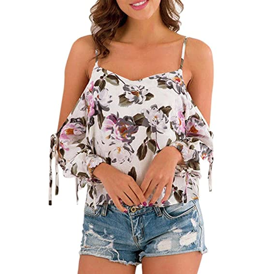 Happy-day Blusas Transparentes,Tops Cortos Mujer,Camisas Mujer,Camiseta Chiffon Off