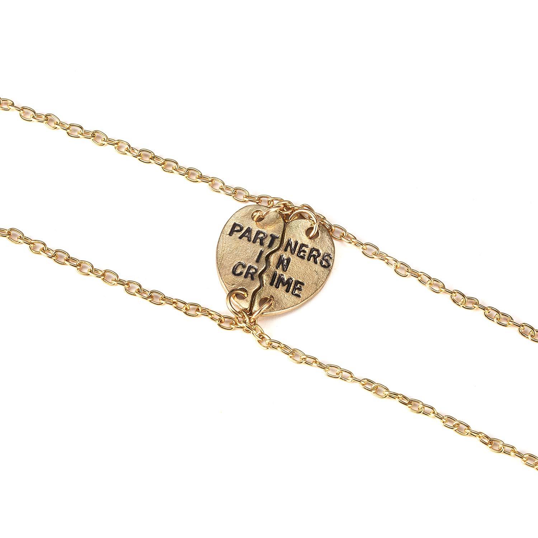 EAN 2 Gold Plated Partner Bracelets Friendship Chain Bracelet Sets for Girls